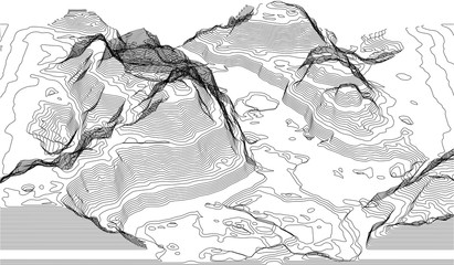 Map of the topography line. Vector abstract topographic map concepts with perspective for your copy. mountain tourism