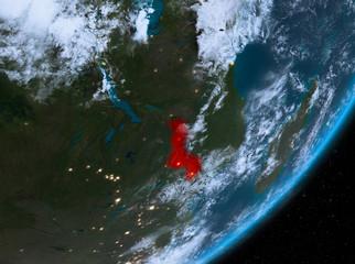 Orbit view of Malawi at night