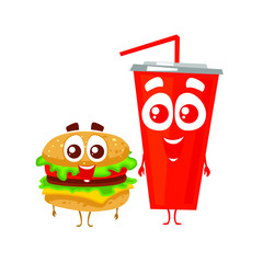 Vector hamburger and cola cup. Cartoon characters. Isolated on white background.