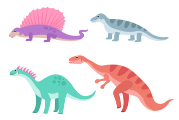 Cute colorful cartoon dinosaurs set isolated on white background. Vector illustration for kids