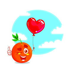 Cartoon orange fruit character with green leaf and thumb up gesture. Character with red balloon heart. Vector illustration isolated on white background and blue sky with white clouds on back.