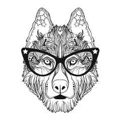 Vector face of dog with glasses in line art style. Isolated on white background. Can be used for some print or poster.