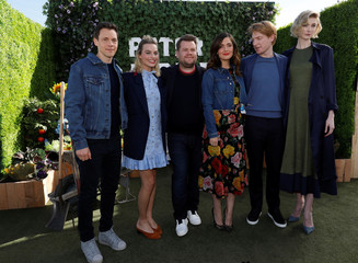 """Director of the movie Gluck and cast members Robbie, Corden, Byrne, Gleeson and Debicki pose during a photo call for """"Peter Rabbit"""" in West Hollywood"""