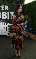 """Cast member Byrne poses at a photo call for the movie """"Peter Rabbit"""" in West Hollywood"""