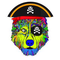 Vector face of pirate dog with pirate hat. Ornament Indian style. Isolated on white background.