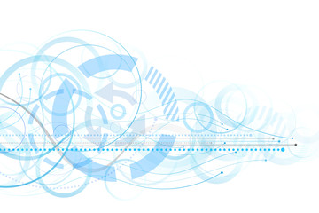 Abstract background with blue circles and lines