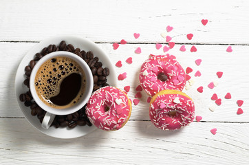 Coffee an pink donuts