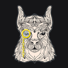 Vector face of lama with monocle. Isolated on black background. Line art style.