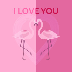 Valentine's day. Two flamingos with heart in watercolor style and text: I love you