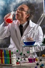 chemist  testing experimental sample