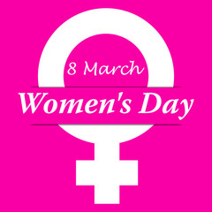 Icono plano 8 March con simbolo femenino y Women s Day con sombra