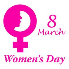 Icono plano 8 March y simbolo femenino con cara mujer y Women s Day y fondo blanco