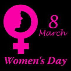 Icono plano 8 March y simbolo femenino con cara mujer y Women s Day y fondo negro