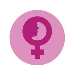 Icono plano simbolo femenino con cara de mujer en circulo violeta