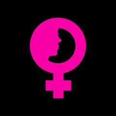 Icono plano simbolo femenino con cara de mujer en fondo negro
