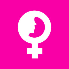 Icono plano simbolo femenino con cara de mujer en fondo rosa
