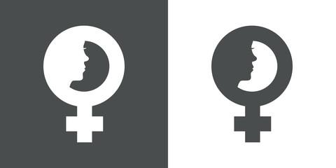 Icono plano simbolo femenino con cara de mujer gris y blanco