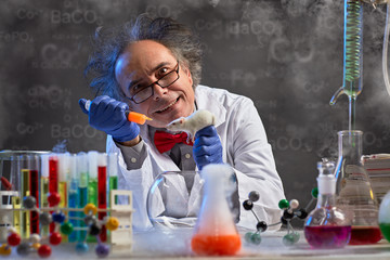 crazy chemistry professor injecting lab mouse