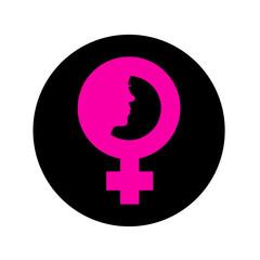 Icono plano simbolo femenino con cara de mujer en circulo negro