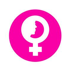 Icono plano simbolo femenino con cara de mujer en circulo rosa