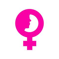 Icono plano simbolo femenino con cara de mujer en fondo blanco