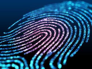 Digital fingerprint on black screen.