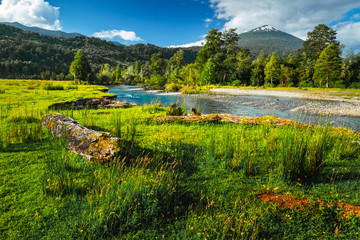 Volcano of Hornopiren and green meadow with river. Chile