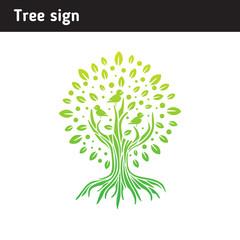 Logo tree with birds for children center