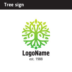 Sign in the form of a tree with roots and foliage