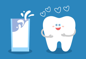 Cartoon tooth with a glass of milk. Dental illustration. Dentistry concept. Good food for your teeth. Flat style.
