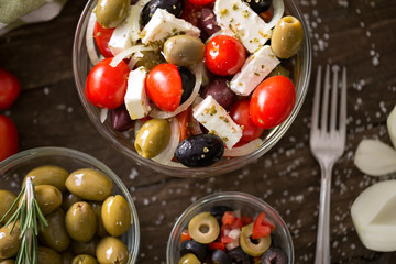 Salad of vegetables with olive- Healthy fresh vegetarian food.