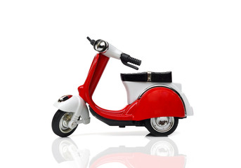 A scooter in red and white color isolated on white