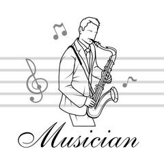 Saxophone player. Musician plays the instrument. Musician logo. Musical staff.