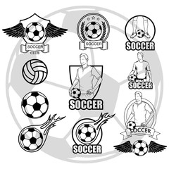 Soccer player with a ball. Soccer logo. Soccer game.