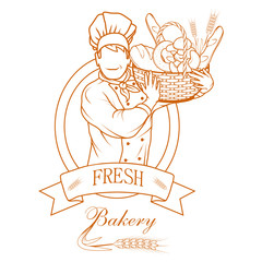 Fresh bread. Bakery products. Bread shop. Bake logo.