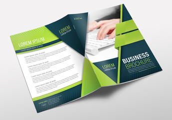 Brochure Cover Layout with Blue and Green Accents 10