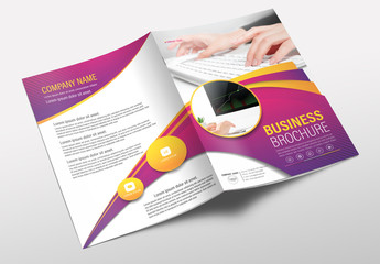 Brochure Cover Layout with Pink and Yellow Accents 2