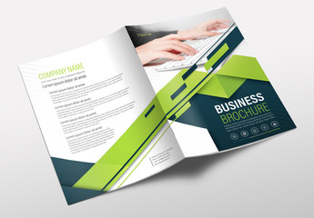 Brochure Cover Layout with Blue and Green Accents 12