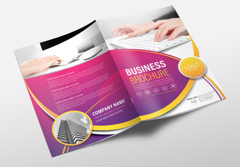 Brochure Cover Layout with Pink and Yellow Accents 3