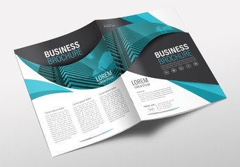 Brochure Cover Layout with Teal and Black Accents 3