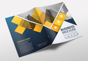 Brochure Cover Layout with Blue and Yellow Accents 6
