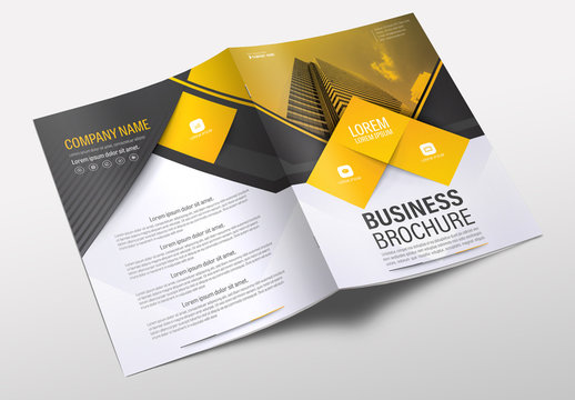 Brochure Cover Layout with Yellow and Gray Accents 3
