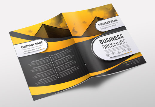 Brochure Cover Layout with Gray and Orange Accents 26