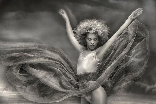 Graceful african american ballerine.