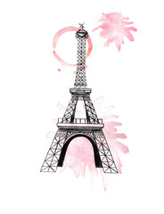 Hand drawn silhouette of Tower Eiffel and watercolor splash on white background, isolated illustration in pink and black color with architecture from Paris, France, high quality
