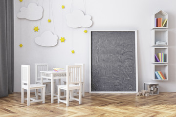 Nursery with a blackboard and bookcase