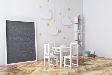 Nursery with a blackboard and bookcase side