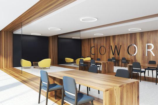 Dark wooden coworking corner