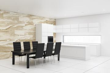 White and marble kitchen corner