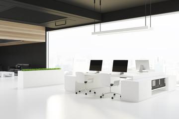 Loft open space office corner, a black ceiling